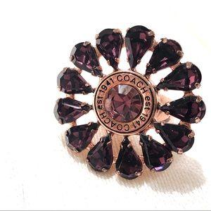 Coach Poppy Crystal Flower Ring